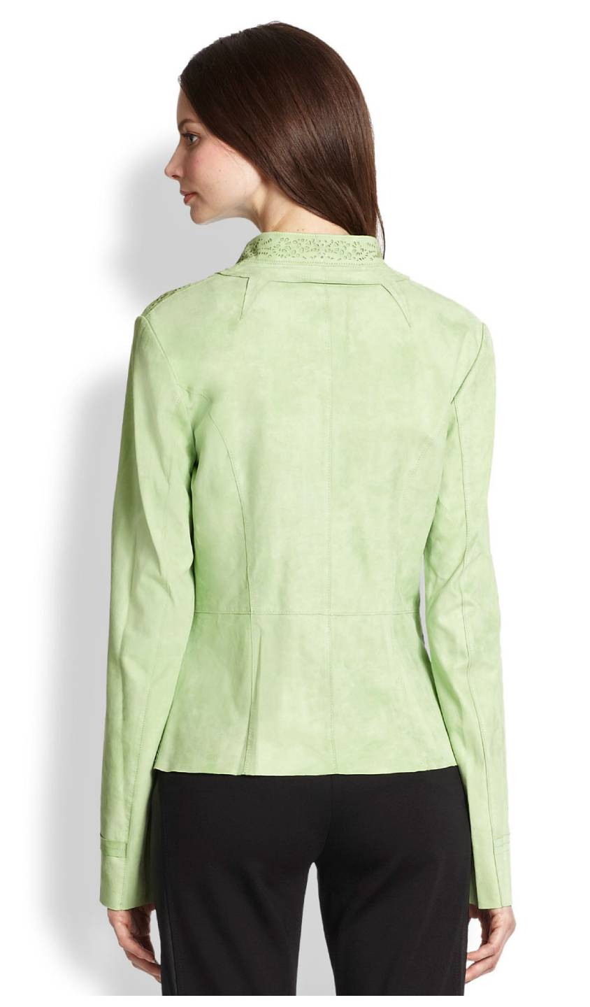 Elie Tahari Lime Green Laser Cut Perforated Leather