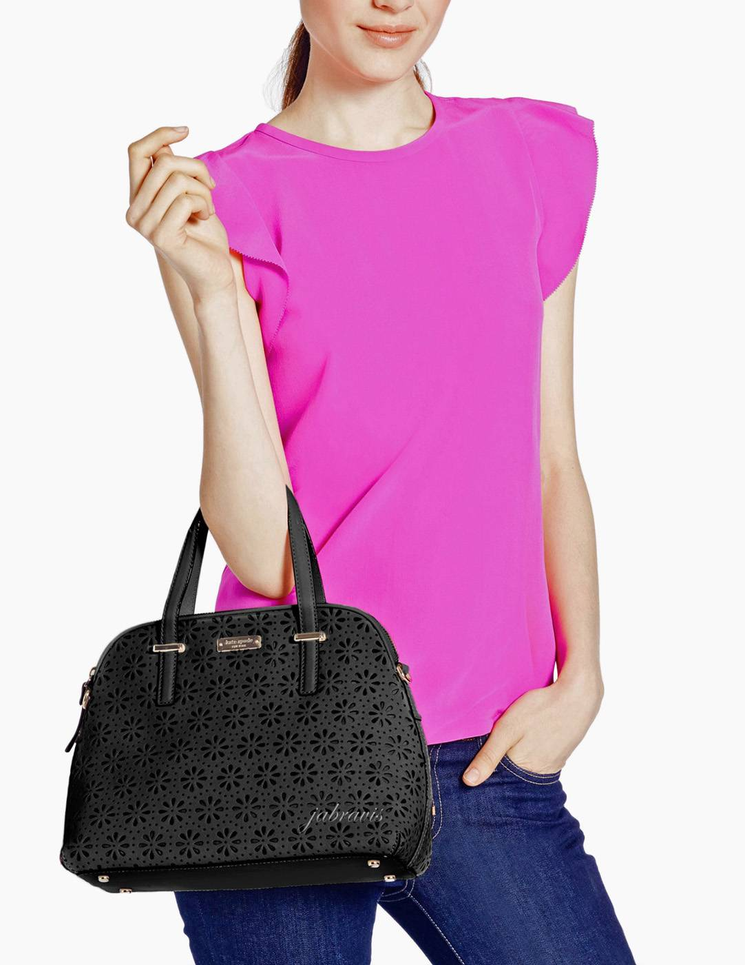 Kate Spade Black Cedar Street Perforated Leather Maise