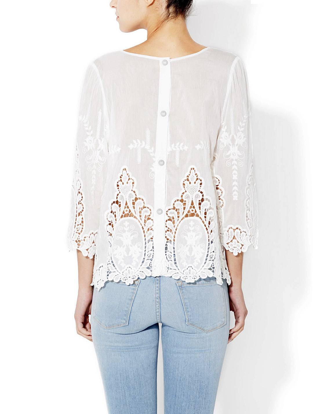 Cynthia Rowley White 100 Cotton Vita Dolce Embroidered
