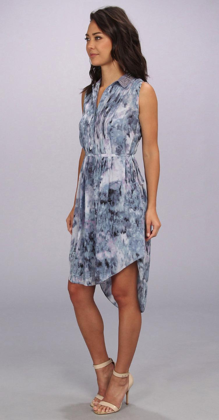 Rebecca Taylor Blue Print Pintuck Sleeveless Silk