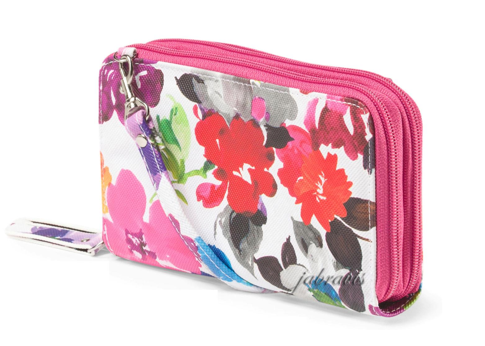 Buxton Pink Floral Print Double Zip Organizer Clutch