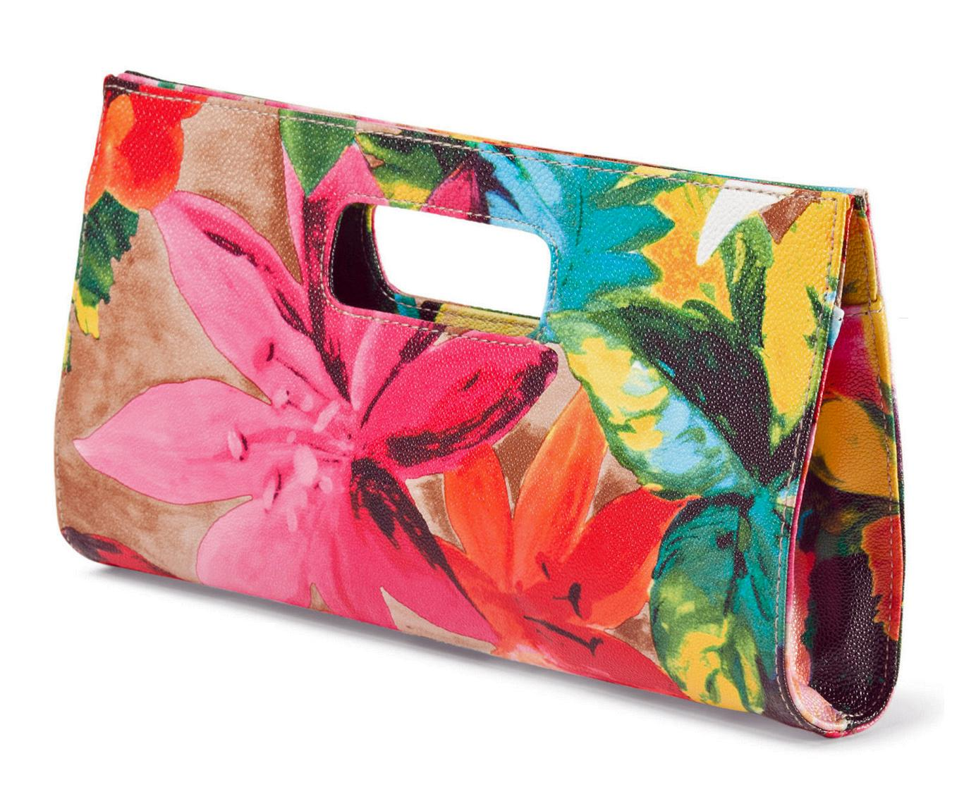 Chateau Tropical Floral Print Vegan Leather Clutch Bag
