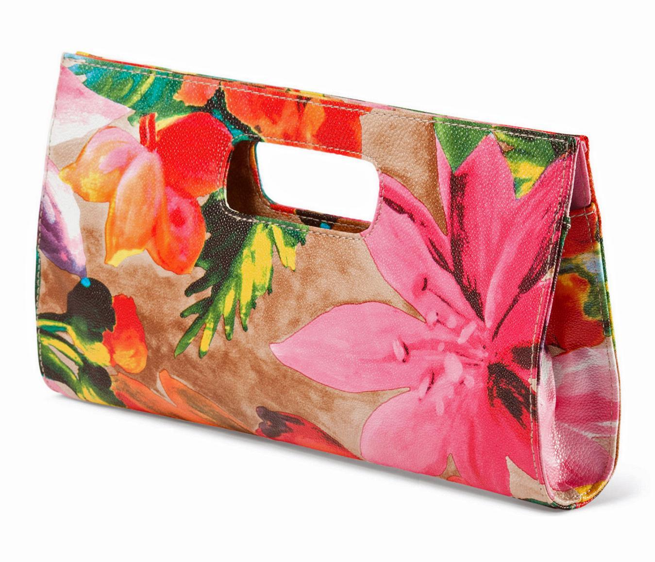 Chateau Tropical Floral Print Vegan Leather Clutch Bag