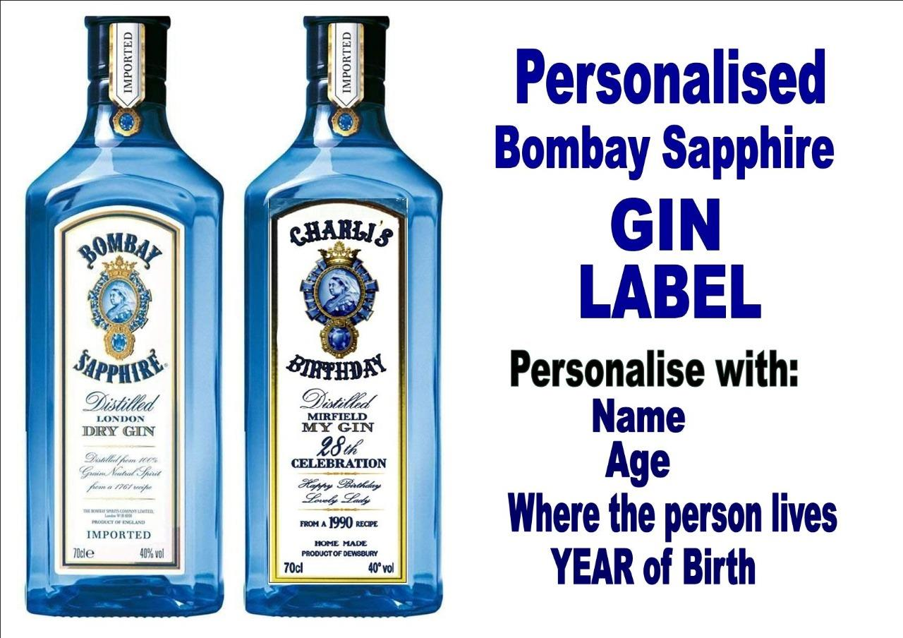 Message Blue GIN bottle PERSONALISED realistic LABEL X2 name birthday Age