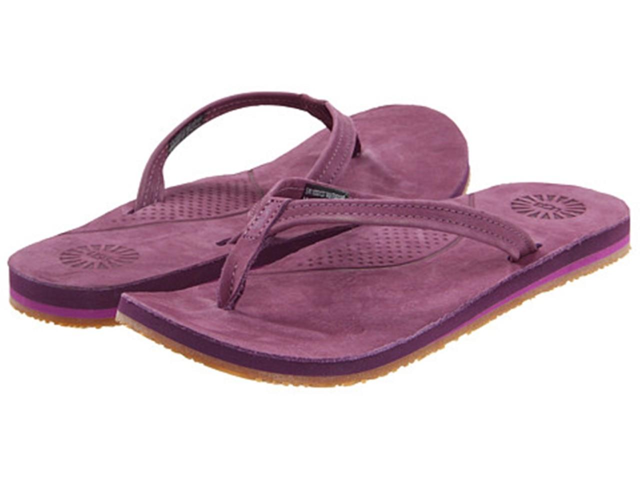 women 39 s shoes ugg australia kayla flip flop sandals leather boysenberry purple. Black Bedroom Furniture Sets. Home Design Ideas