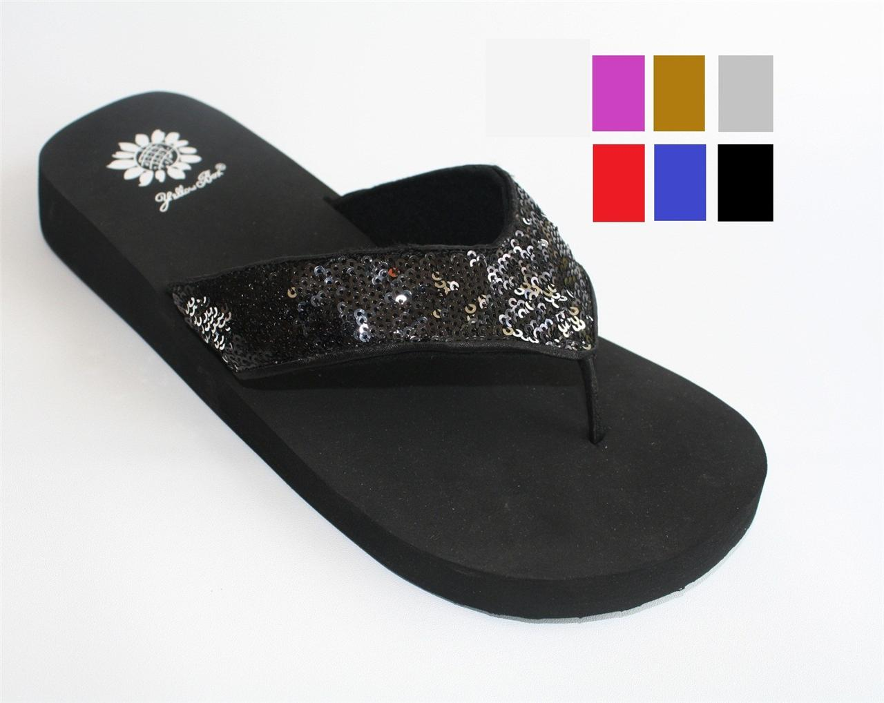 74e52183a Womens Yellowbox Yellow Box Chamomile Thong Sandal Flip Flops Sequins Multi