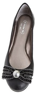 Womens Shoes Coach A2108 DELORES SHEEP Flats Ballerina Slip On Black Leather