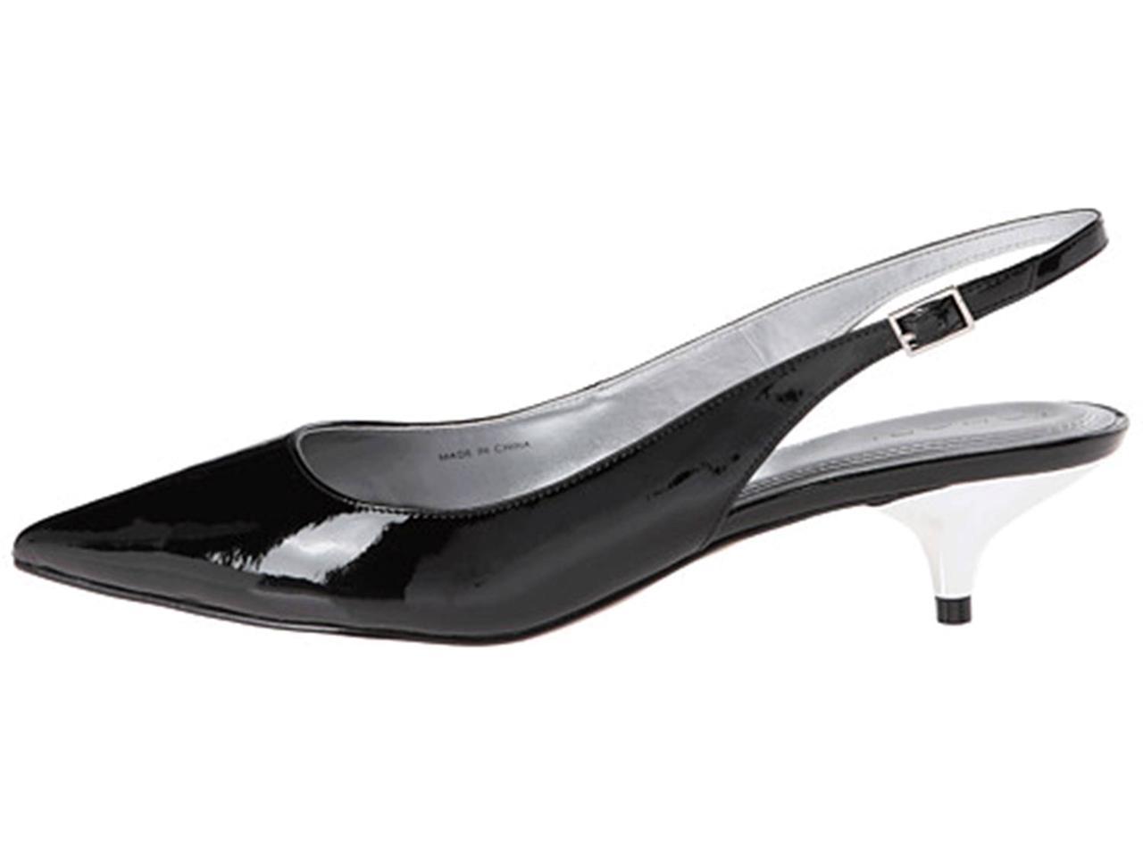 Women's Shoes TAHARI *Faye* Slingback Pumps Kitten Heels Patent BLACK or TOAST | eBay