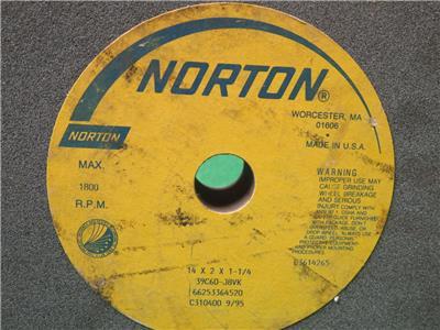 "new NORTON 14/"" x 1-1//2/"" x 5/"" Straight Silicon Carbide Grinding Wheel 39C60-IVK"