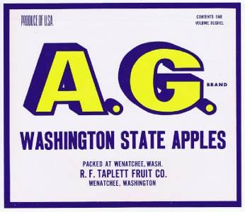 R F taplett fruit co original washington apple crate label red seal wenatchee
