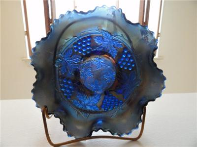 Vtg BLUE Carnival Glass Northwood ? GRAPE & CABLE Bowl~Vtg Fenton