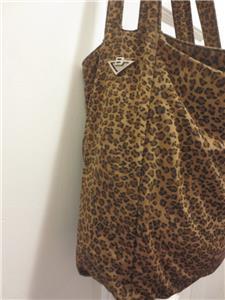 9d050ea83d64 Authentic BOTTEGA VENETA Fabulous LEOPARD Nylon Shoulder Bag PURSE Handbag  ITALY