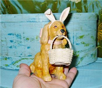 Details about Bethany Lowe Easter Little Golden Retriever Puppy with Basket  of Eggs Too Cute!
