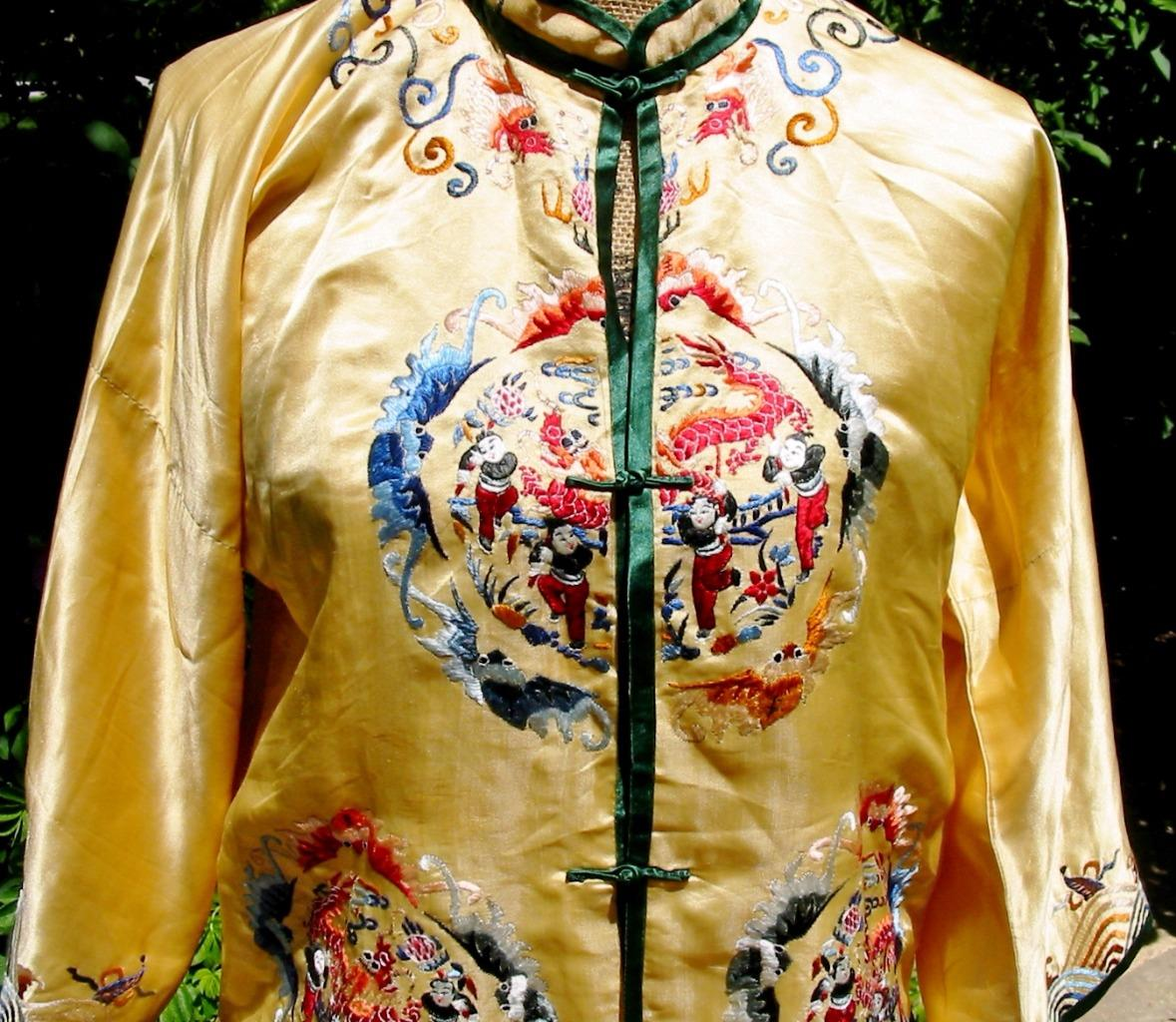 f655fef2aa Lovely Vintage Chinese Embroidered Yellow Robe Jacket Pants Bats Dragon  Festival 4 4 of 12 ...