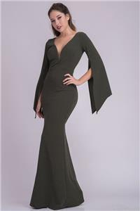Dark Green Slit Angel Sleeve Druid Goddess Gown Evening Long 284 mv Dress S M L
