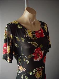 Black Sheer Mesh Dark Floral Print Romantic 90s Goth Long 286 mv Dress 2XL 3XL