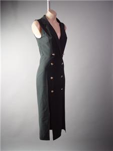 Black Blazer Style Military Pinup 40s 50s Collared Wrap Midi 294 mv Dress S M L