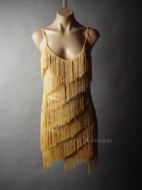 Flapper Vtg Y 20s Tiered Fringe Gold Sequin Dance Evening