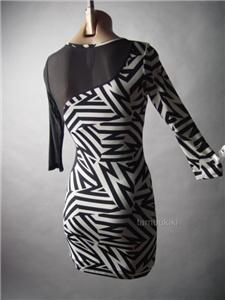 Sale Black White Graphic Stripe Sheer Mesh Club 80s Party Bodycon 31 mv Dress