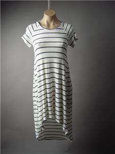 Sale Black White Breton Stripe Nautical Sporty Casual T-Shirt 192 mv Dress S M L