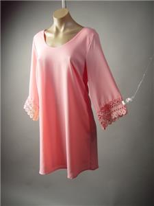 Sale Light Pink Crochet Sleeve 60s Spring Summer A-Line Shift 182 mv Dress M L
