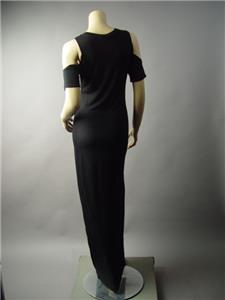 Black Pagan Wicca Open Cold Shoulder Slim Fit Jersey Long Maxi 183 mv Dress S L