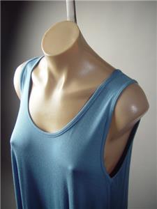 Plus Blue Casual Basic Jersey Knit Flare Swing Trapeze Tank 297 mv Dress 1XL 2XL