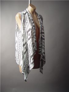 Black White Desert Boho Tribal Print Drape Open Front Shawl Knit 198 mv Vest