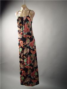Bright Pink 60s Paisley Scarf Print Strapless Tube Long Maxi 132 mv Dress S M L