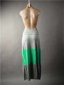 Heather Gray Mint Green Color Block Fold Over Waist Tiered Maxi 285 mv Skirt M L