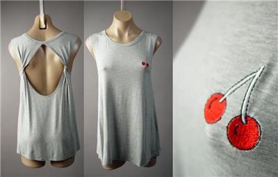 Minimalist Avant Garde Gray Draped Twist Cutout Back Tank Top 234 mv Shirt S M L