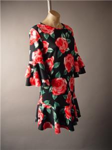 Black Painterly Rose Floral Pattern Bell Sleeve Flounce Hem 258 mv Dress S M L