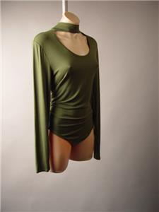 Olive Green Choker High Neck Plus Jersey Top Leotard 262 mv Bodysuit XL 2XL 3XL