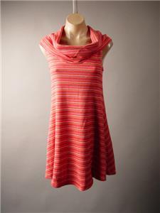 Funnel Cowl Neck Psychedelic 60s Vtg Bright Stripe Woven Knit 262 mv Dress S M L