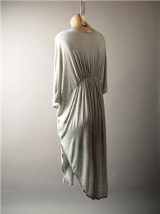 Gray Deep V Neck Empire Waist Caftan Kimono Style Tunic 276 mv Dress 1X 2X 3X
