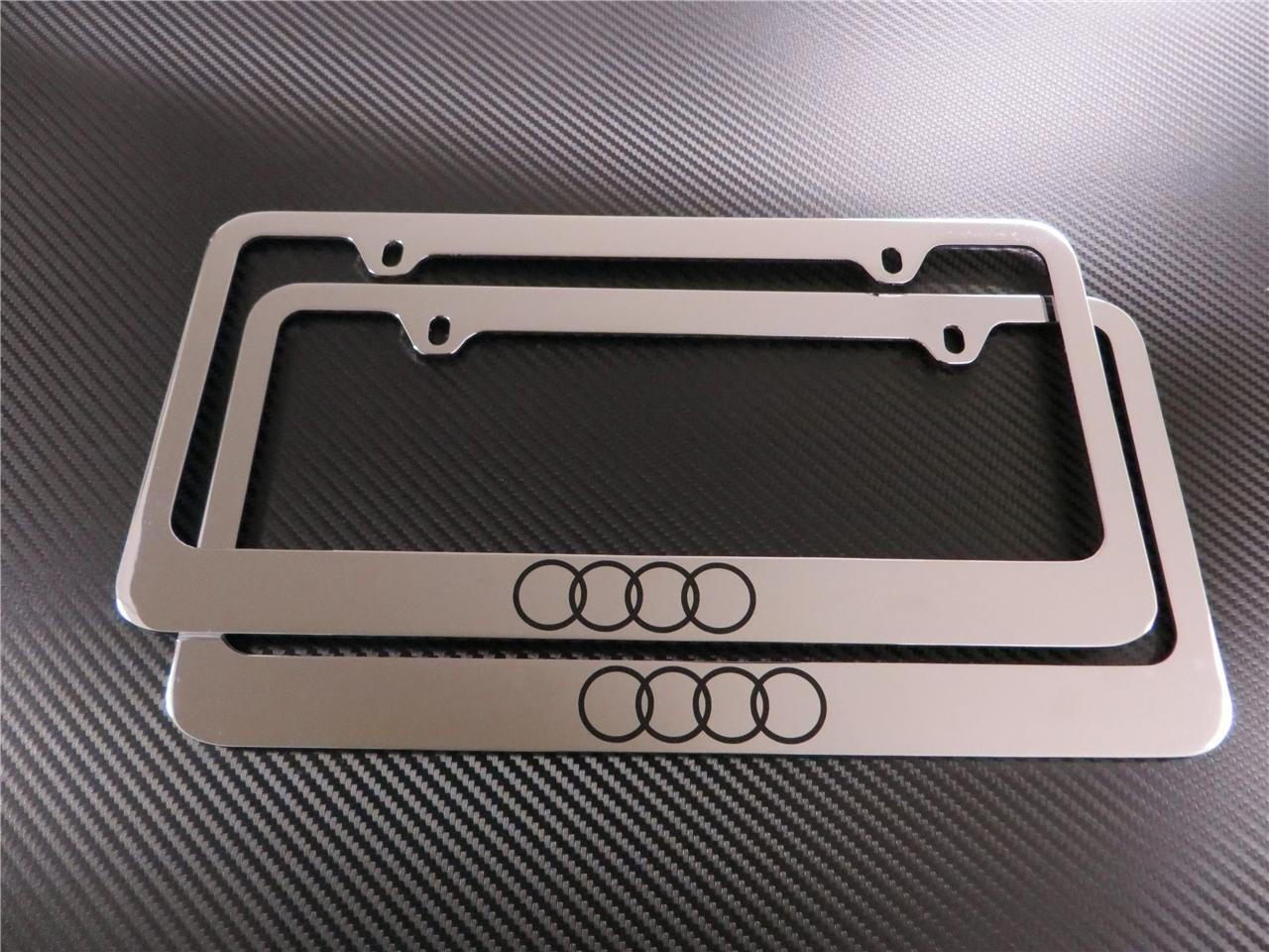 Purchase 2pcs Audi Logo Chrome Metal License Plate Frame