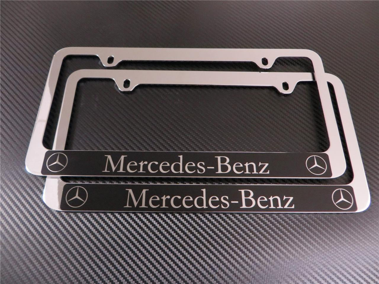 2pcs Mercedes Benz Halo E Class Chrome Metal License