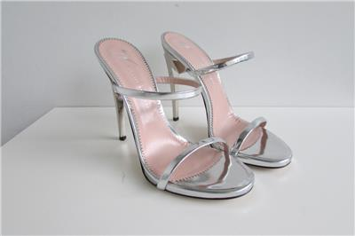 abd3303ca18f GIUSEPPE ZANOTTI G Heel Silver Mules Metallic Sculpted Heels 38 AUTH NIB   795