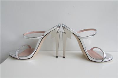 e27c9933d085 GIUSEPPE ZANOTTI G Heel Silver Mules Metallic Sculpted Heels 38 AUTH ...
