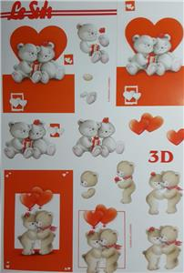 A4 3D Paper Tole Teddy Bear Heart Fishing Valentine Juggling Honey Garden Paint
