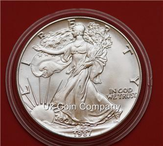 1987 American 1oz Argento Liberty Eagle 1 Un Dollaro