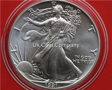 1991 American 1oz Fine Silver Eagle 1 One Dollar Coin Ebay