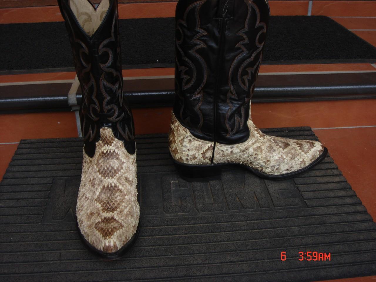 Mens Tony Lama Rattlesnake Skin Cowboy Boots 10d Us Ebay