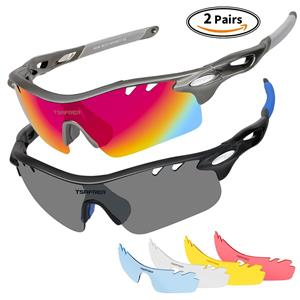 df2caa37725 Tsafrer Sports Sunglasses 2 Pairs W  6 INTERCHANGE LENSES (2 ARE Polarized)