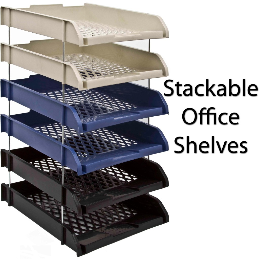 plastic stackable a4 paper letter document stationary in office desk with shelves above office desk shelf organizer