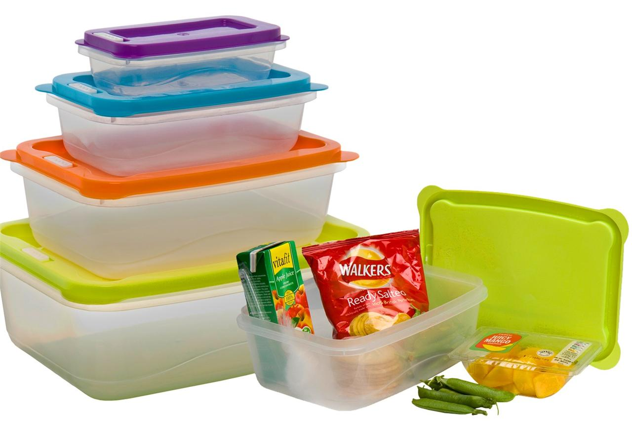 Clear Plastic Food Lunch Boxes Nested Storage Tupperware