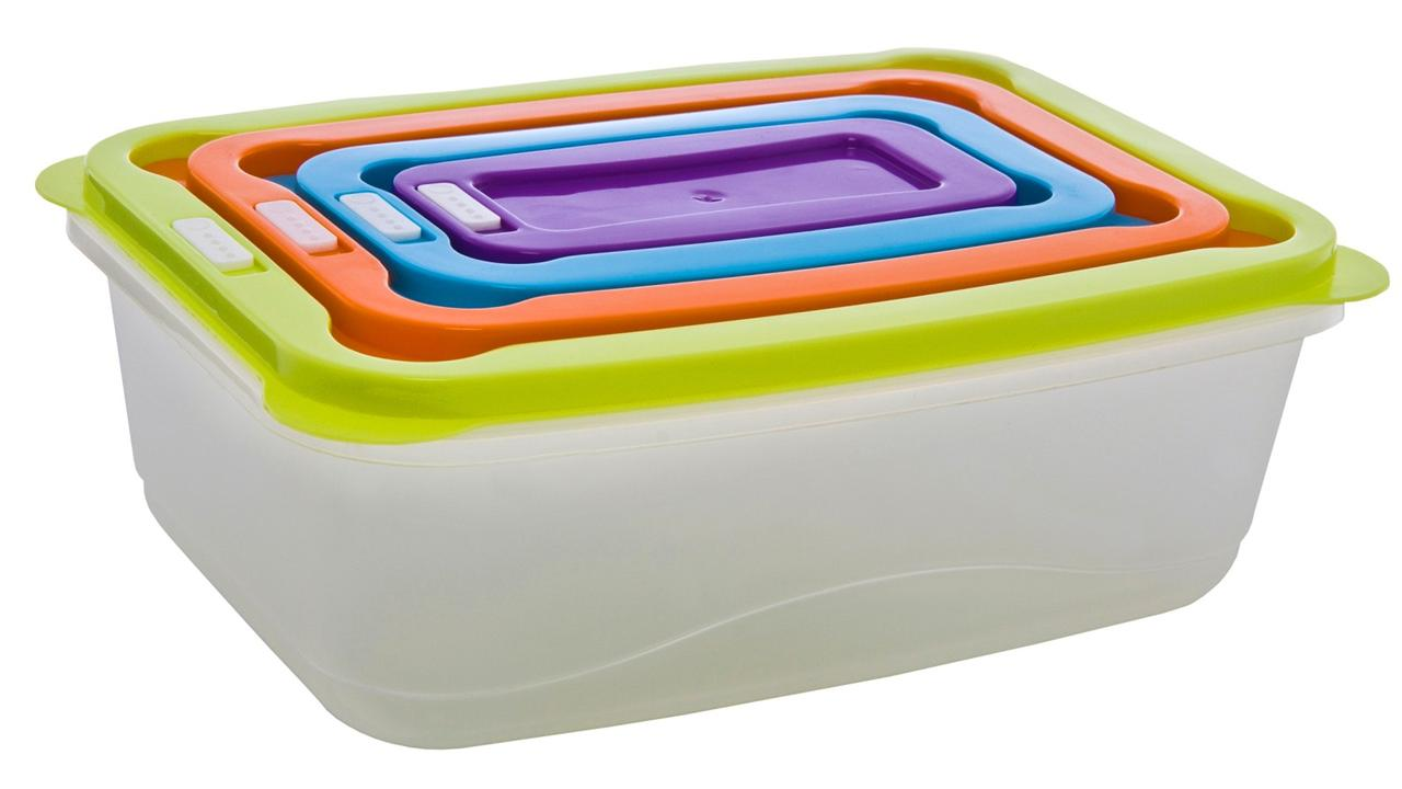 Clear Plastic Food Lunch Boxes Nested Storage Stacking