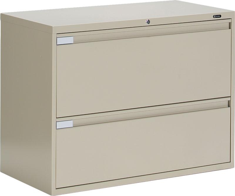 "global metal 2 drawer office lateral file cabinet 42"" wide 