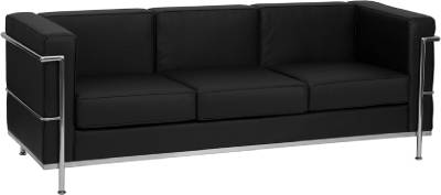 Details about HERCULES REGAL SERIES CONTEMPORARY BLACK LEATHER SOFA WITH  ENCASING FRAME