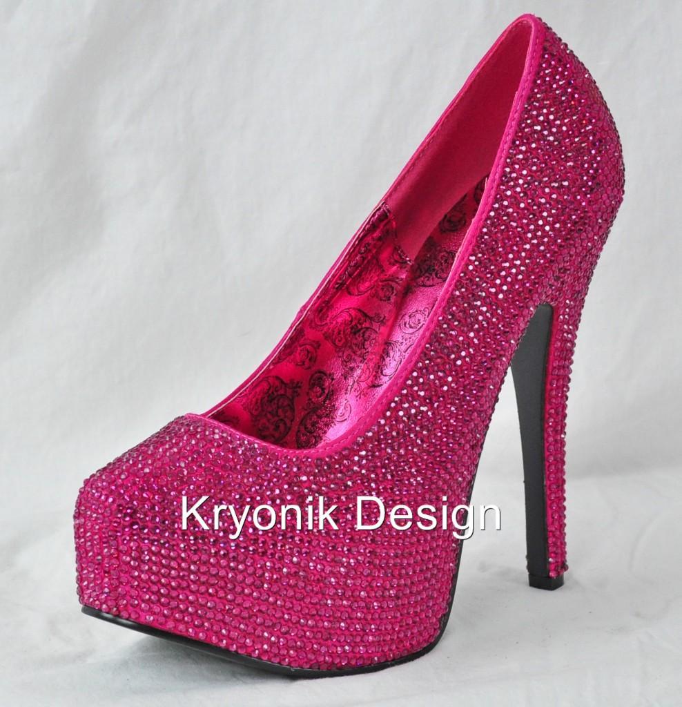 Bordello shoes Teeze-06R hot pink rhinestone platform ...